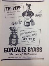 Gonzalez Byass, Tio Pepe, Sherry, Vintage Magazine Advert 1956,