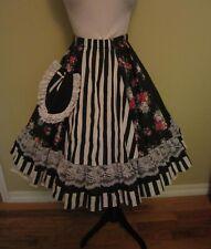 VTG Pitchfork Brand Full Circle Skirt Black Floral & Stripe Square Dance One Sz