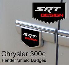 Chrysler 300c SRT Design Fender Side Shield Badge Emblems (Black/Chrome/Red)