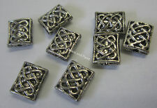 8 Pieces 8x7mm Metal Silver Tone Beads For Beading & Jewellery Making JF275