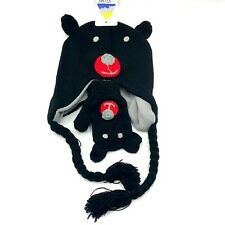 Toddler Baby Girl Boy Kid Black Bear Winter Crochet Knit Hat Beanie Cap Gloves