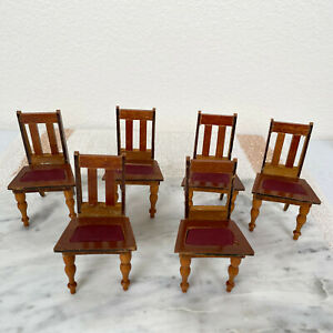 Antique Dollhouse SCHNEEGAS CHAIR LOT Victorian 1800s Doll Dining Room Furniture