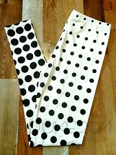 Soft Leggings Graphic Print Black White Dots OS Womens 2-10 NEW