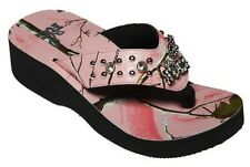 NEW WOMENS REALTREE GIRL RACHAEL 10-10.5 PINK CAMO BLING FLIP-FLOPS SHOES SANDAL