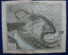 Original antique map North Balkans, Croatia, Bosnia, Serbia, Stieler, 1891
