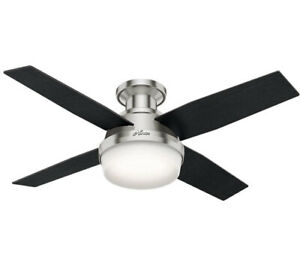 Hunter Fan Company Dempsey Indoor Low Profile Ceiling Fan 44in Brushed Nickel