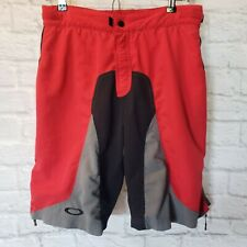 Oakley Men's Size M Red Black Gray Padded Cycling Shorts