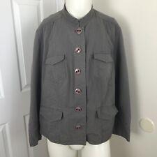 Womens Jacket 22W Lagenlook Sigrid Olsen Gray Quilted Pockets Button Up Nehru