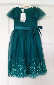 NEW Monsoon - Emerald Green Sequin Party Dress - Age 6 years