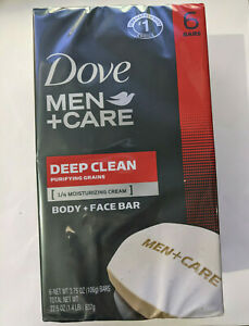 Dove Men+Care Body Soap and Face Bar Deep Clean 3.75 oz 6 Bars.
