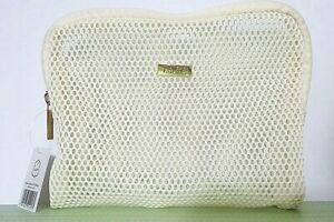 LALINE Toiletry Mesh Bag Womens Makeup Bag Travel Case Amenity Pouch Beige