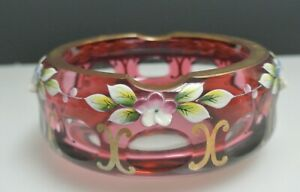 Vintage Bohemian Ruby Red Floral Hand Painted Ashtray Art Glass
