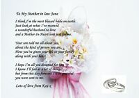 A4 PERSONALISED POEM TO YOUR MOTHER IN LAW ON YOUR WEDDING DAY