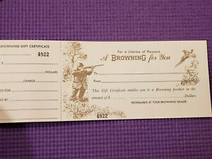 VINTAGE 1956 BROWNING ARMS COMPANY BOOK OF GIFT CERTIFICATES