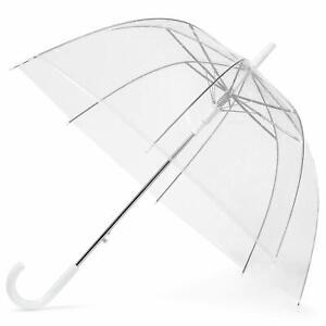 "Large 30"" Clear See Through Dome Umbrella Ladies Transparent Walking Rain Brolly"