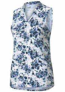 PUMA Women's 2021 Cloudspun Floral Sleeveless Polo Shirt Top Navy Small S #43235