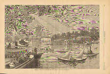 Rowing, Boat Race Clubs, Harlem River, New York, Vintage, 1879 Antique Art Print