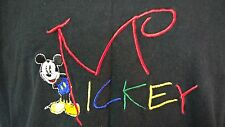 Disney Mickey Mouse T Shirt Size L Embroidered Black Made in USA