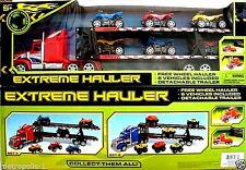 EXTREME HAULER,BIG RIG CAR HAULER,W/ 6 FREE WHEELING ATVs,DETACHABLE TRAILER,NEW