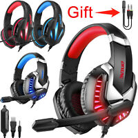 3.5mm Gaming Headset LED Headphone Stereo Bass Surround for PS4/PS5/Xbox One/PC