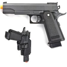 FULL SIZE METAL AIRSOFT SPRING PISTOL HAND GUN w/ HARD SHELL HOLSTER 6mm BB BBs