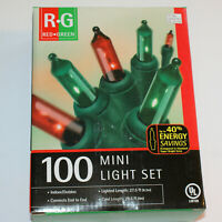 "100 Mini Light Set Red & Green Bulbs 27.5"" Green Cord Christmas Indoor/Outdoor"