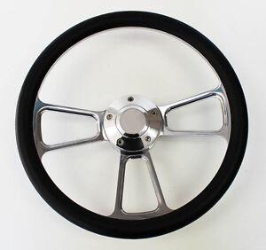 """C10 C20 C30 Blazer Pick Up Black and Billet Steering Wheel 14"""" Very Nice"""
