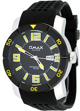 Omax Supreme GS673 Men's Stainless Steel IP Bezel Black Dial Silicone Band Watch