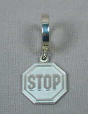 TummyToys® Sterling Silver Navel Belly Ring & Stop Sign Charm Free Shipping