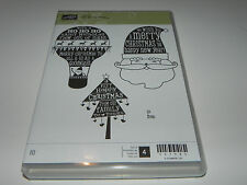 Stampin Up Christmas Wishes CLEAR Mount Stamp Set of 4 Ho Ho Ho Santa Tree