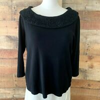 RAFAELLA Women Large/XL Plus Black-Floral 3/4-Sleeve Cotton Top Blouse NWOT