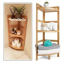 Bathroom Wooden Corner Shelf Rack Storage Bamboo Organiser Caddy Shelving Unit