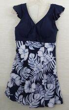 JLQ Swim Dress Size US XL / Asian 4XL  Blue White Floral Padded Hip Minimizer