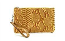 Genuine Leather Wristlet Wallet Travel Clutch W Zipper Money Compartment Mustard