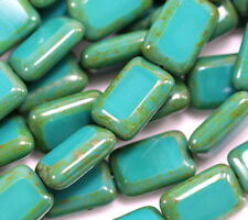 Rectangle Beads, Table Cut, 8x12mm, Persian Turquoise, Czech Beads, 12 Pieces