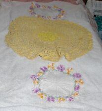Vtg Three Lot Fabric Linens Orange Gold Purple White Crochet Embroidered Doilies