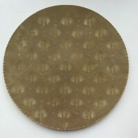 """Vintage Arthur Armour 18"""" Hammered Gold Aluminum Tray Wheat Fan Pattern"""