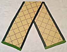 VINTAGE AUTHENTIC EQUESTRIAN ART HORSE HARNESSES GREEN SILK LONG MEN'S SCARF