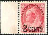 Canada #88 mint VF OG NH 1899 Queen Victoria 2c/3c carmine Numeral Provisional