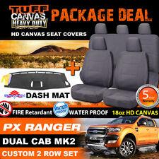 TUFF HD CANVAS FORD PX2 PX3 RANGER Dual Cab Seat Covers 2ROW +DASH MAT 6/2015-19