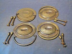 Brass decorative oval plate furniture handles  x  4