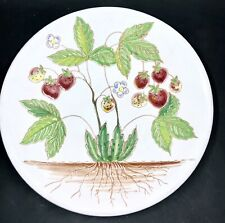 """Hand Painted Strawberries Tile Italian Art Pottery Red With Green Leaves 8"""""""