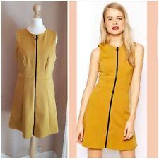 NEW ASOS Full Front Zip Scuba Skater Dress Mustard Dark Yellow Colour Size 12