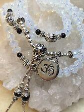 Faceted Sri Lanka Moonstone Onyx & Silver Tibetan Buddhist Mala 108 Prayer Beads