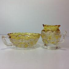 Vintage Yellow & Clear Depression Glass Sugar Bowl & Milk Jug