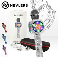 NEVLERS Karaoke Microphone w/Bluetooth Speaker,Voice Changer & LED Lights-Silver