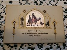 Vintage Art Deco Era Christmas Greeting Card Merry 1930s Signed Old Nativity