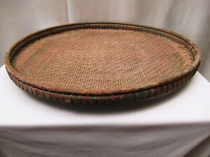 """Antique Burmese Basketry Sieve For Rice And Sesame for Kitchen Burma painted """" 3"""
