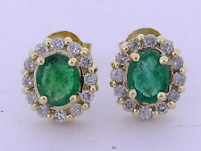 ER294 Genuine 9K Yellow Gold NATURAL Emerald & Diamond Daisy Stud Earrings