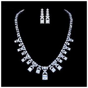 Made Using Swarovski Crystals The Lumia Elegant Bridal Necklace Set $326 S3